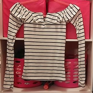 Aeropostale Aero Striped V Neck Ruffle Shirt